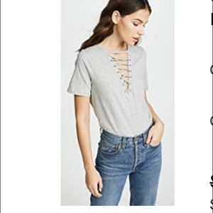 Grey lace up t shirt